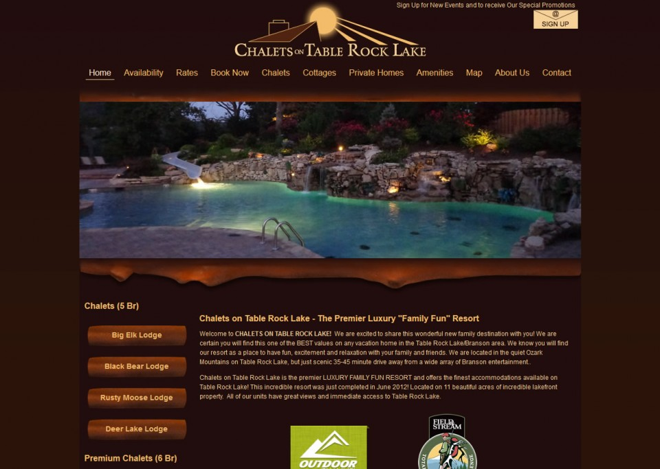 Chalets on Table Rock Lake Website Professionals Portfolio