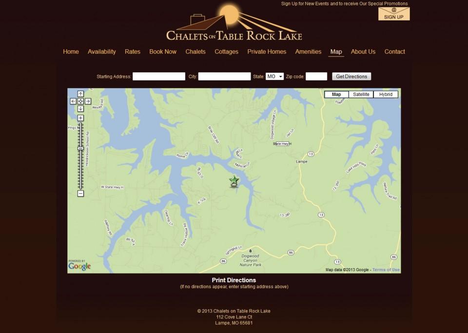 Chalets on Table Rock Lake Website Professionals Portfolio
